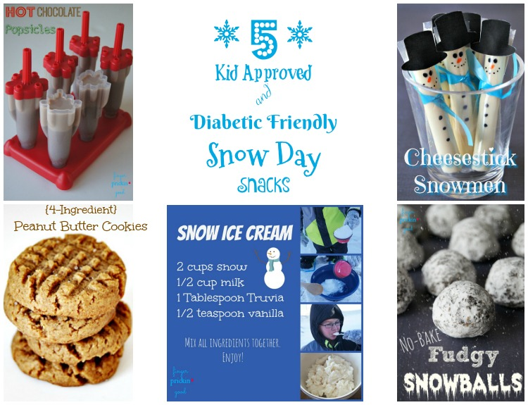 5 Kid Approved & Diabetic Friendly Snow Day Snacks- Collage
